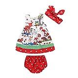 QTONGZHUANG Kinder Anzug Sommer Cartoon Kinder Anzug Mädchen Baby Baby Dreiteilige Shorts + Haarband + Kleid, Bild Farbe, 80cm