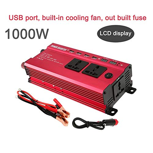 Portable 1200W Power Car Vehicle Inverter with LCD Display 12V to 220V Automotive Converter Power Supply with 4 USB Ports (12 Volt Portable Power Supply)