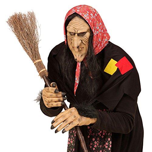 Hexenmaske Halloweenmaske Böse Zauberin mit Haaren Faschingsmaske Hexe Hexen Maske Karneval Kostüm Accessoires Märchen Horrormaske Halloween Karnevalsmaske Witch (Kostüm Maske Accessoire Hexe)