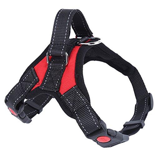 Draussen Einstellbar No-Pull Hundegeschirr Weich Gepolstert Haustier Hunde Brustgeschirr mit Griff Kontrolle Rot S -
