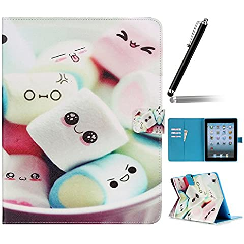 Ipad 2 3 4 Wallet Cover, Ipad 2 3 4 Flip Leather Case Back Cover, Ukayfe Stand Function PU Leather Case Premium Soft Slim Cover Bookstyle with Magnet Closure Credit Card Holder Slots for Apple iPad 2 3 4 iPad 2 iPad 3 iPad 4 with 1 x Black Stylus - Cartoon cake