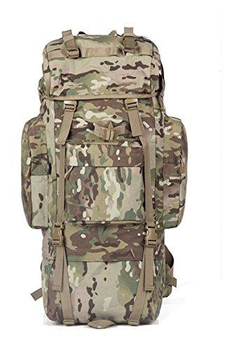 Zainetto grande capacità mimetica alpinismo zaino borse, verde militare, 100L senza Rain cover (f)65L senza cappuccio antipioggia