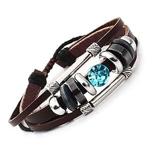 O.R.® (Old Rubin)Bracelet en cuir véritable tressé à la chinoise attache réglable de plusieurs tours