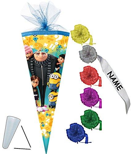 alles-meine.de GmbH Schultüte -  Minions - ich einfach unverbesserlich  - 35 cm - rund - incl. individueller Schleife - mit Namen - mit Tüllabschluß - Zuckertüte - Nestler - mi..