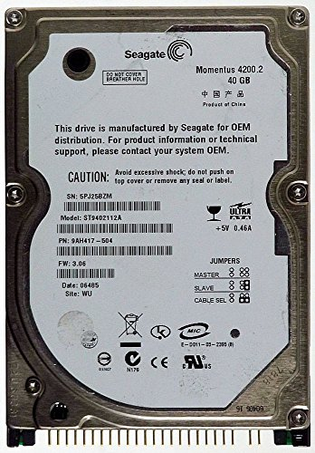 Notebook HDD IDE 40GB Seagate Momentus 4200.2 ST9402112A ID14261 (Seagate Laptop 40gb)