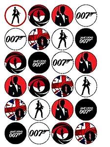 "24x James Bond 007 1.5"" (3.8cm) PRE- CUT PREMIUM RICE PAPER Edible Cake Toppers"