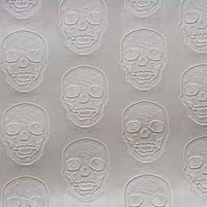 Quartier des tissus - Skai simili cuir tete de mort skull nacre