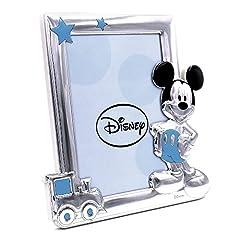 Idea Regalo -  Disney Baby - Topolino Mickey Mouse - Cornice per Foto in Argento da Tavolo o Comodino per la Cameretta del Bambino perfetta come Idea Regalo Battesimo o Compleanno