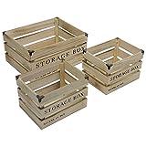 3er Holzkisten Set Storage Box Dekokisten Obstkisten Allzweckkiste Aufbewahrungskiste
