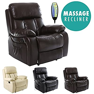 Chester Heated Leather Massage Recliner Chair Sofa Lounge Gaming Home Armchair from Sonic Online Ltd