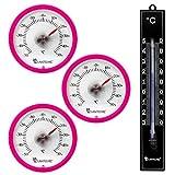 Lantelme 7346Termometro Set con 3PZ. klebet hermometer rotondo colore rosa e 1PZ. Analogico in Plastica Termometro Nero