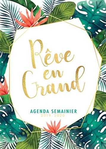 Agenda Semainier 2019 2020 - Rêve en Grand: Idéal pour la productivité et le style   Juillet 2019 à Décembre 2020   Motif fleurs palmier par  Papeterie Collectif