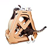 Daeou Arbres à Chat Grande Roue Cat Scratching Conseil ondulé Rotation nid Chat Chat gratter Conseil 73 * 36 * 70 cm