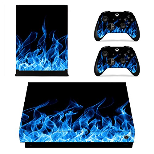 eXtremeRate Xbox One X Designfolie Aufkleber Skin Set, 1 Konsole Folie, 2 Controller Stickers, 2 stück Home Button Stickers für Xbox One X(Blaues Feuer)