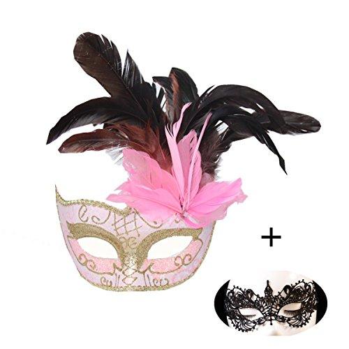 HaoJing Metall Venezianische Frauen Maske für Maskerade Party Ball Prom Mardi Gras Hochzeit Wand Dekoration Freie Maske Geschenk (M2-Pink Y)