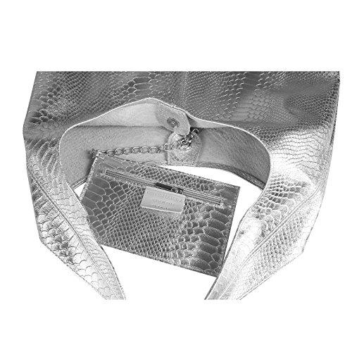 OBC MADE IN ITALY DAMEN LEDER HAND-TASCHE METALLIC Shopper Schultertasche Hobo-Bag Henkeltasche Beuteltasche Gold Silber (Schlange)