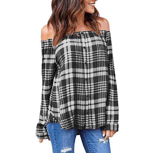 FNKDOR Women's Casual Plaid Sexy Off Shoulder Long Sleeve Shirt Tops Blouse Bare Shoulder