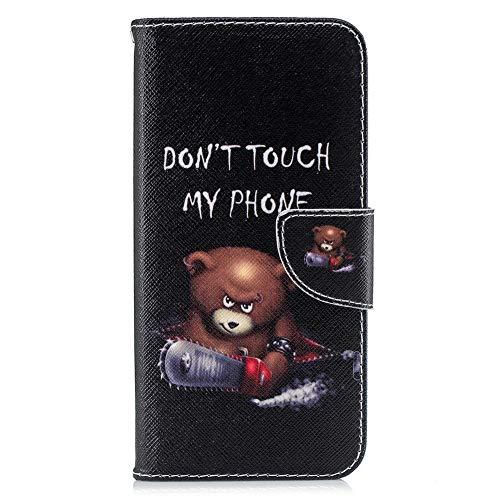 Coopay Hülle für Huawei Mate 20 Lite Case,Prägen Bunt Muster Schutzhülle Ledertasche Ständer Kartenfächer Magnetverschluss Hüllen,Flip Lederhülle Brieftasche + Schlüsselband,Don't Touch My Phone