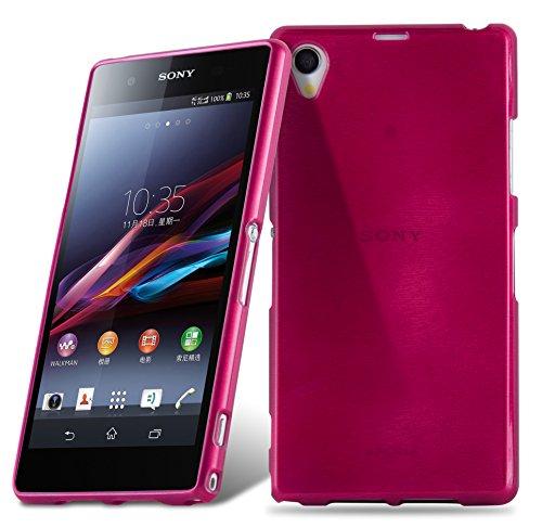 Cadorabo Hülle für Sony Xperia Z1 - Hülle in Pink – Handyhülle aus TPU Silikon in gebürsteter Edelstahloptik (Brushed) Silikonhülle Schutzhülle Soft Back Cover Case Bumper
