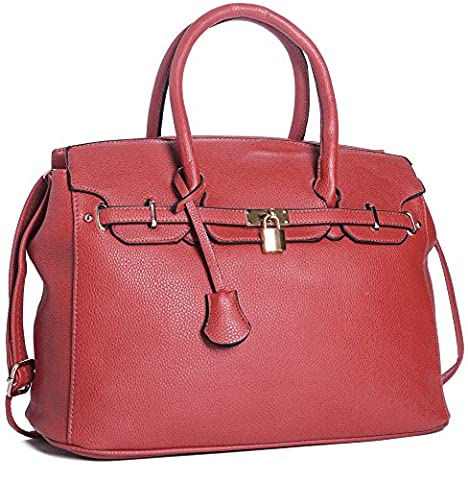 Big Handbag Shop Womens Faux Leather Designer Inspired Tote Shoulder Bag (Red)