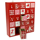 Wooden Red & White Advent Calendar