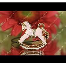 Frauen Schlüsselanhänger Rosa Schaukelpferd Pferdchen Anhänger Bling Strass Niedlich Handtasche Accessoires Handy Tasche Chain Women Key Chain