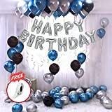 Party Propz Happy Birthday Letter Foil Balloon Set of Silver + Pack of 30 HD Metallic Balloons (Blue, Black and Silver)