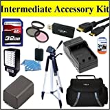 Intermediate Accessory Kit For Canon Vixia HF11HF20HF200 HFM30HFM301 HFM31HFM32Camcorder - Includes 3PC Filter Kit + 32GB SD Memory Card + Replacement BP827 Battery + Battery Charger + LED Video Light + Deluxe Case + 57 ' Tripod + Mini HDMI Cable & Much More!!