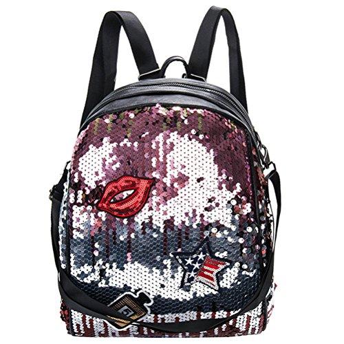 ab19e81708 OULII Sacchetto scolastico della scuola del sacchetto del sacchetto di  spalla del labbro di Bling dei
