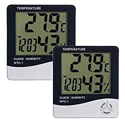 Aly 2 X Thermometer mit Hygrometer, LCD Display (2 Stück )