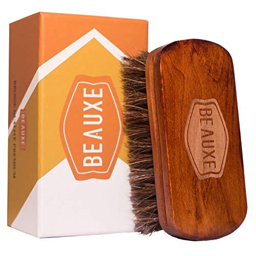Beauxe Brosse à chaussures de luxe en crin de cheval - efficace pour nettoyer et entretenir le cuir des bottes, sièges auto, canapés, sacs à main, porte feuilles et aussi pour la barbe