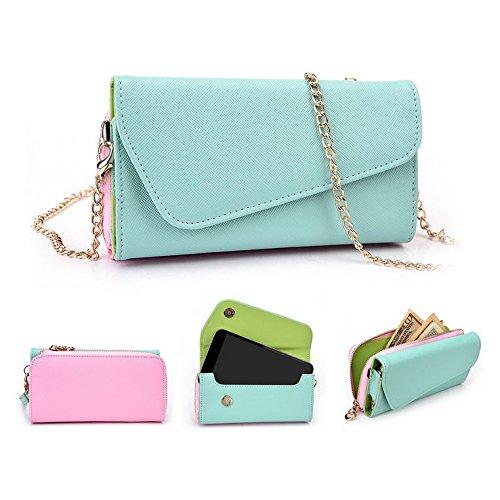 Kroo d'embrayage portefeuille avec dragonne et sangle bandoulière pour Panasonic Eluga S/ELUGA U2 Multicolore - Black and Blue Multicolore - Green and Pink