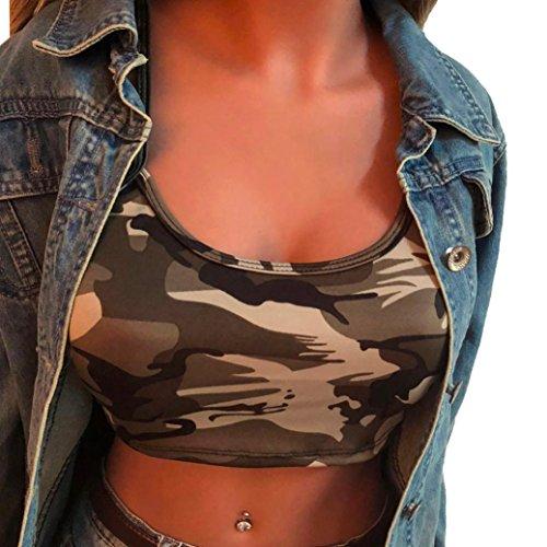 LILICAT Frauen Tank Top Sommer Ärmellos T Shirt Camouflage BH Ärmellos Shirt Damen Rundhals Hemd...