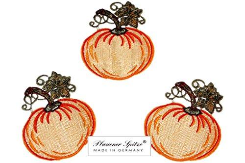 Plauener Spitze ® 3er SET Kürbis Halloween Herbst Aufleger Dekoration ()