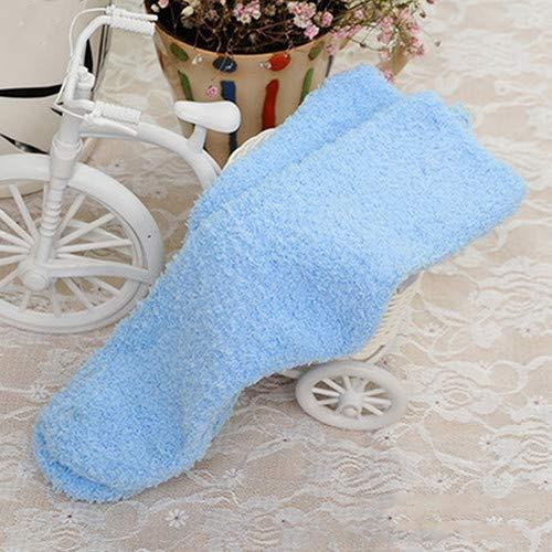 Mujer Chica Otoño Invierno Cálido Calcetines de Las Mujeres Espesar Coral Calcetines de Terciopelo Color sólido Dormir Calcetines Azul