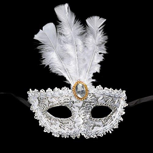 Cdet Kostüm Maske Kostüm Prinzessin Juwel Spitze Feder Augen Maske Masquerade Mask für Halloween Maskentanzabend Party Foto Zubehör (Weiss)