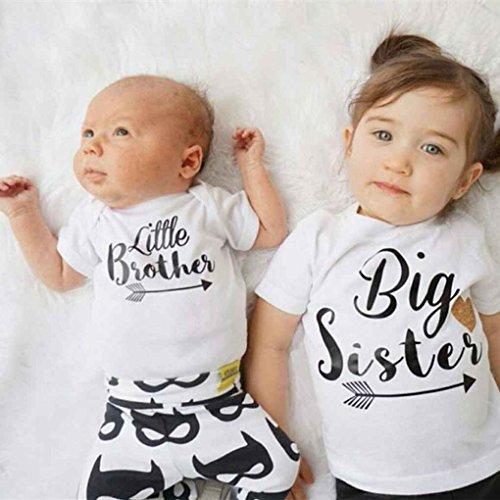 timlatte Masterein Kleine Schwester Big Brother Familie passenden Outfits kleine Schwester Strampler Big Brother gedruckt Tops Baumwolle Outfits # 1 S(0-3) Baumwolle