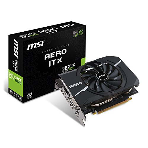 MSI GeForce GTX 1070 Aero ITX OC 8GB Nvidia GDDR5 2x HDMI, 2x DP, 1x DL-DVI-D, 2 Slot Afterburner OC, VR Ready, 4K-optimiert, Grafikkarte -