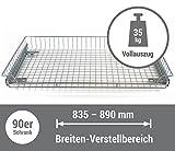 Korbauszug 35kg – silber – 900/80, Schrankauszug Teleskopschublade für 90er Schrank
