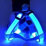 Fieans Bequem Safty LED Licht Nylon Haustier Leine Hund Kette Leine Hundegeschirr mit Einem Flash-Leucht Gurte-Blua