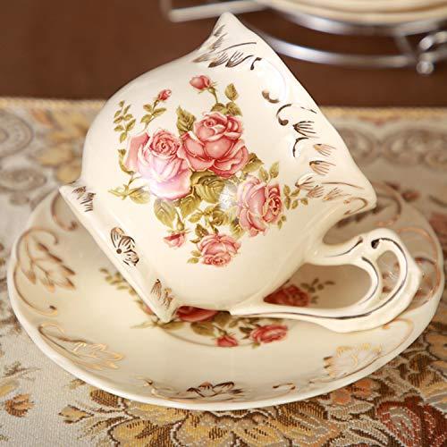 LZZNB- Tee-Set Kaffee-Set 3-teiliges Set, Elfenbein Weiß Bedruckte Keramik, Rosenmuster, Handgemacht, Haushaltsgeschirr, Cafe, Geschenk