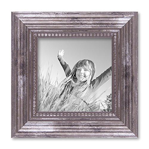 PHOTOLINI Bilderrahmen 10x10 cm Silber Barock Antik Massivholz mit Glasscheibe und...