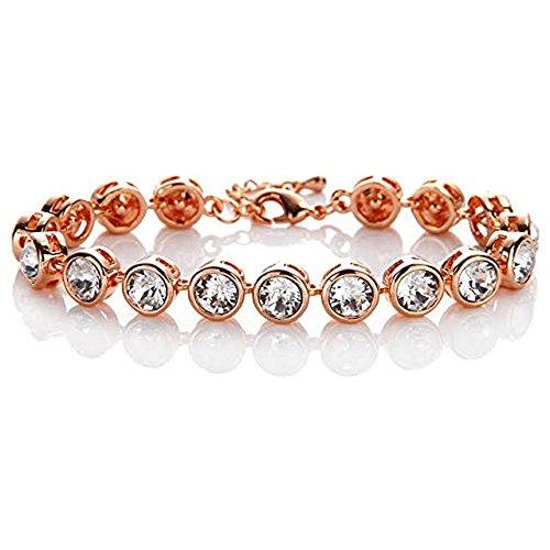 Messing Swarovski Strass Crystal (Silvity Damen Tennisarmband mit
