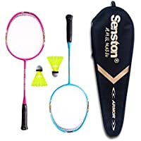 Senston Raqueta de Bádminton para niños Júnior (3 colores) Incluyendo 2 raqueta / 2 Volantes / 1 Bolsa - pink and blue