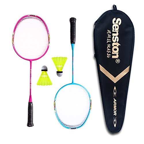 Senston Graphite Badmintonschläger Set für Kinder Badminton Set, 2 Badminton Schläger, 2 Nylonbälle,1 Schläger Tasche