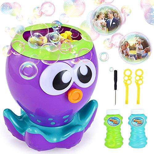 VATOS Seifenblasenmaschine, Seifenblasen Spielzeug Automatischer Bubble Machine mit 1000+ Blasen pro Minute, Seifenblasenmaschine für Kinder mit 2 Flüssigkeit für Party, Badezeit, Indoor und Outdoor (Wie Man Strom Machen)