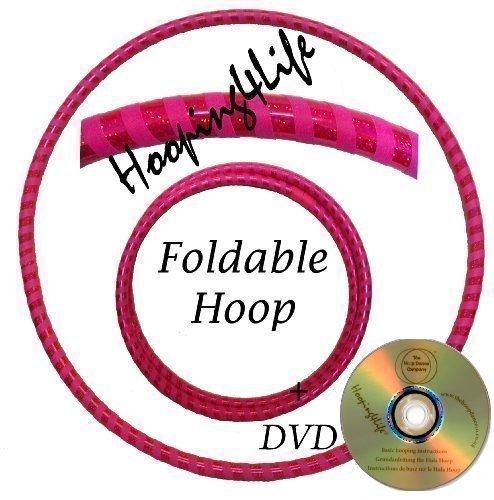 Hooping4Life Faltbarer holografisch Rosa / fluoreszierend Rosa Hula Hoop Reifen für Training u. Tanz; Größe ca. 101 cm, Gewicht ca. 625 g