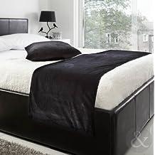 "Plaid de terciopelo suave con bordes marcados, 48 x 198 cm, poliéster, negro, Bed Runner 19"" x 78"""