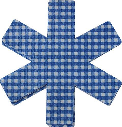 Pfannenschutz Pfannenschoner Stapelschutz Premium Set kariert Farbe blau, 3er -