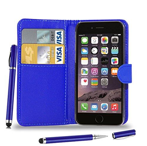 Apple iPhone 7 - Leder Etui Tasche Hülle Cover Buch + 2-in-1 Stylus Pen + Touch Screen Protector & Poliertuch ( Schwarz ) Blue